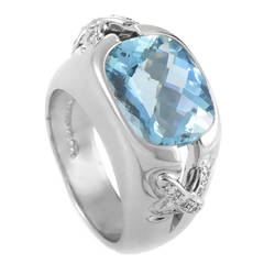 Tiffany & Co. Jean Schlumberger Aquamarine Diamond Platinum Ring