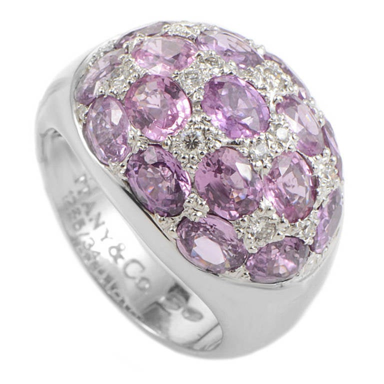 Tiffany & Co. Pink Tourmaline Diamond Gold Dome Ring