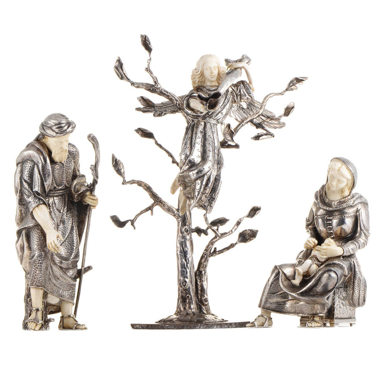 Sterling Silver Nativity Statue Set For Sale