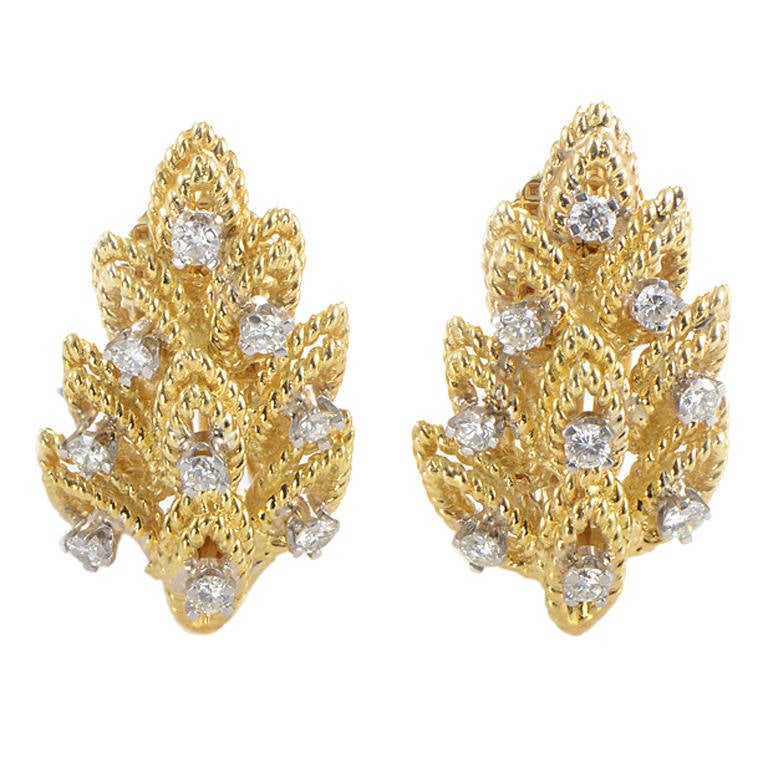 Tiffany & Co. Diamond Gold Leaf Clip-On Earrings For Sale