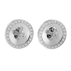 Van Cleef & Arpels Diamond White Gold Button Earrings