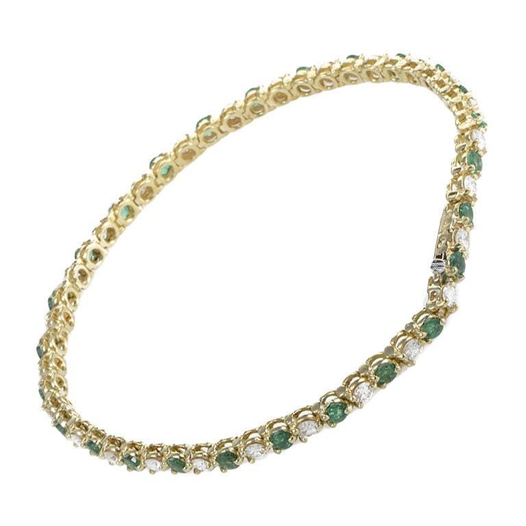 Tiffany and Co. Emerald Diamond Yellow Gold Tennis ...