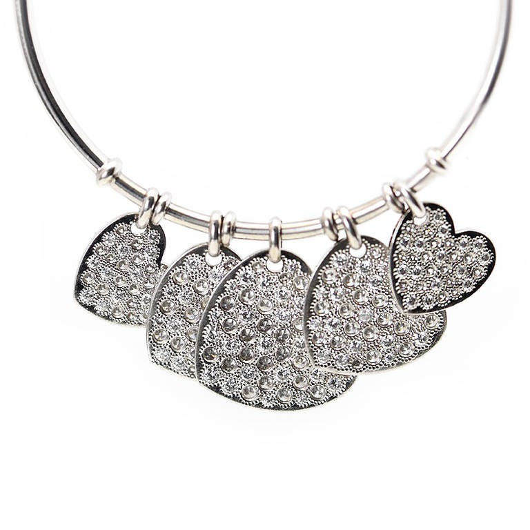 Dior Diamond Gold Heart Hoop Earrings 2