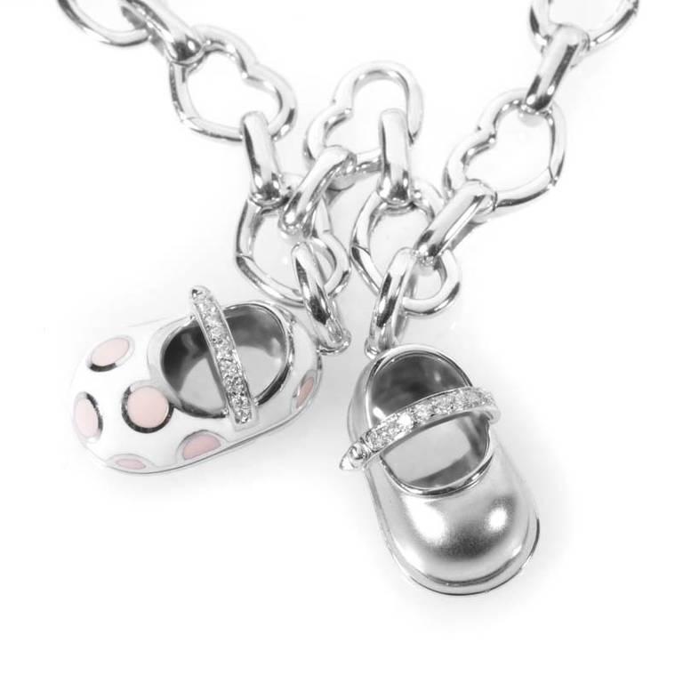 Aaron Basha Diamond White Gold Baby Shoe Charm Bracelet at