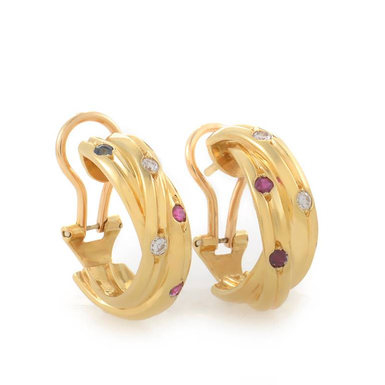 cartier yellow gold gemstone earrings at 1stdibs