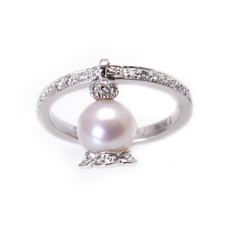 pearl gold dangle ring at 1stdibs