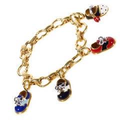 Aaron Basha Diamond Yellow Gold Baby Shoe Charm Bracelet