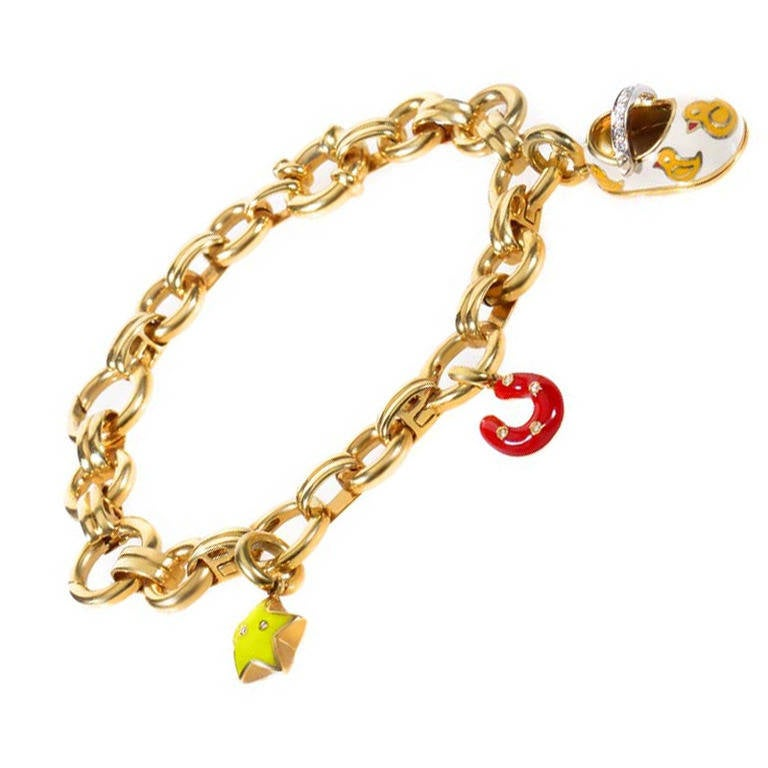 aaron basha yellow gold charm bracelet at 1stdibs