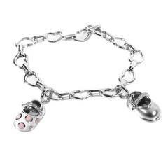 Aaron Basha Diamond White Gold Baby Shoe Charm Bracelet