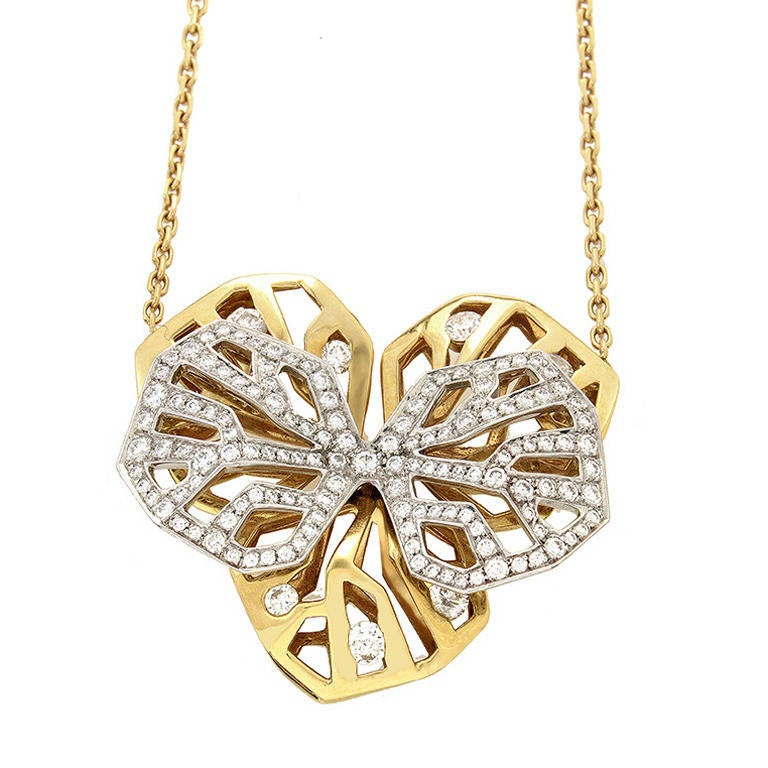 Cartier Caresse d'Orchidees Diamond Gold Pendant Necklace