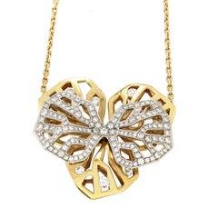 Cartier Caresse d'Orchidees Diamond Gold Pendant Necklace