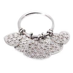 Dior Diamond Gold Hearts Dangle Ring