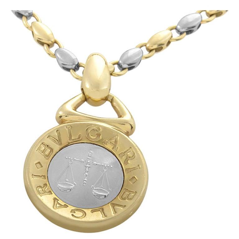 bulgari yellow and white gold zodiac libra pendant