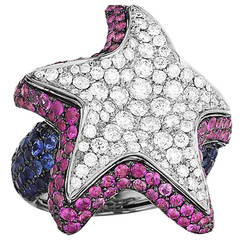 Maggioro Multi Sapphire Diamond Gold Brilliant Star Ring