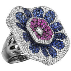 Maggioro Multicolor Sapphire Diamond Gold Perfect Passion Ring