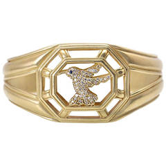Slane & Slane Yellow Gold Diamond Hummingbird Cuff Bracelet