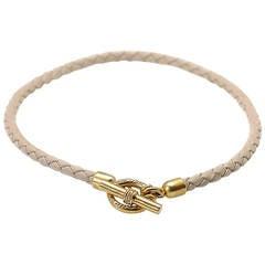 Slane & Slane Leather Diamond Yellow Gold Necklace