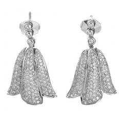 Piaget Diamond Pave White Gold Tulip Earrings