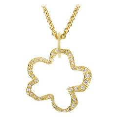 Robert Lee Morris Diamond Gold Flower Pendant Necklace