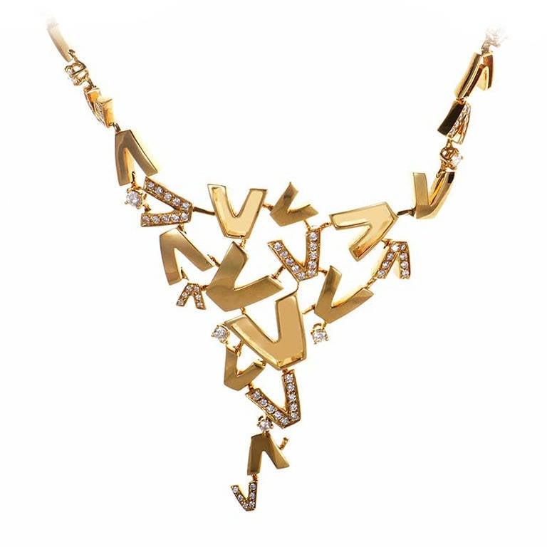 Versace V-Divine Diamond Gold Necklace