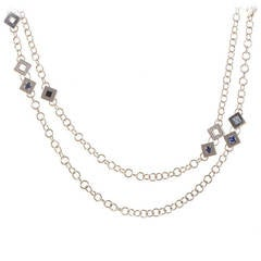 Versace Diamond and Gemstone White Gold Necklace