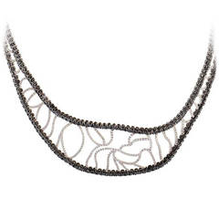 Versace Black and White Diamond White Gold Cuff Necklace
