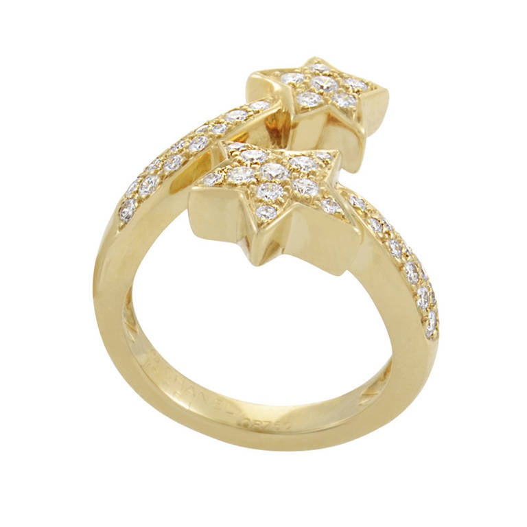 Chanel Comete Diamond Yellow Gold Pave Ring 2