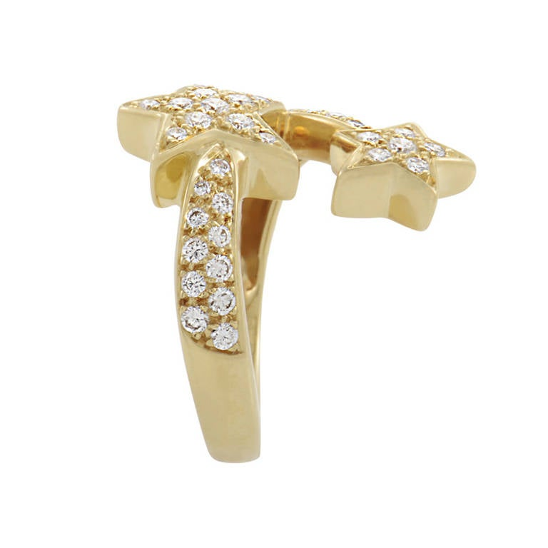 Chanel Comete Diamond Yellow Gold Pave Ring 3