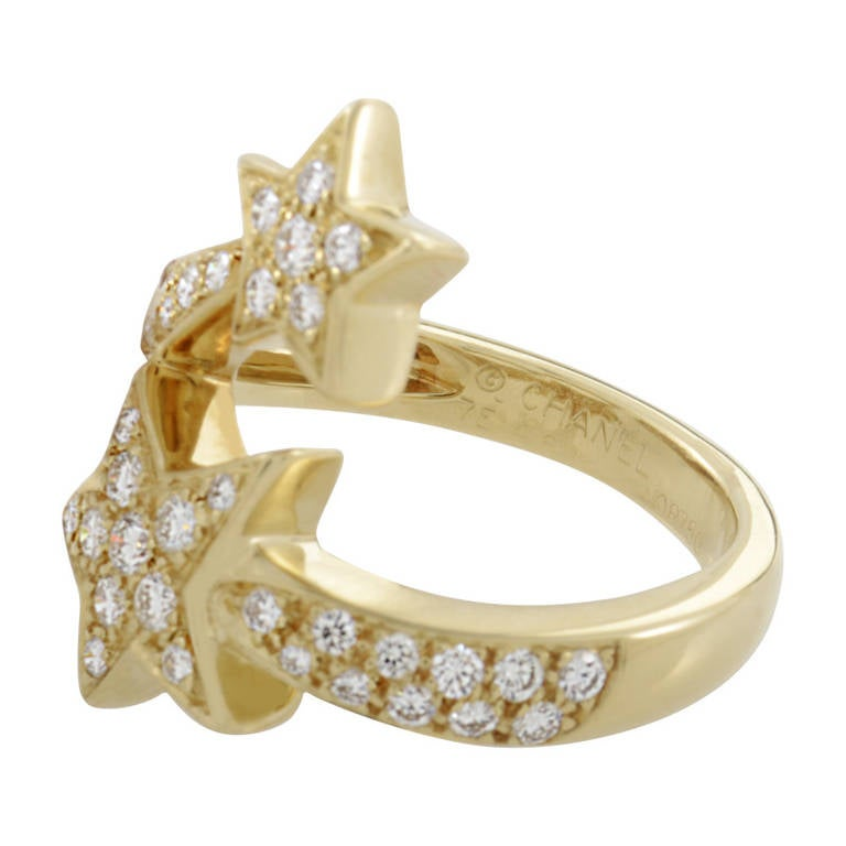 Chanel Comete Diamond Yellow Gold Pave Ring 4