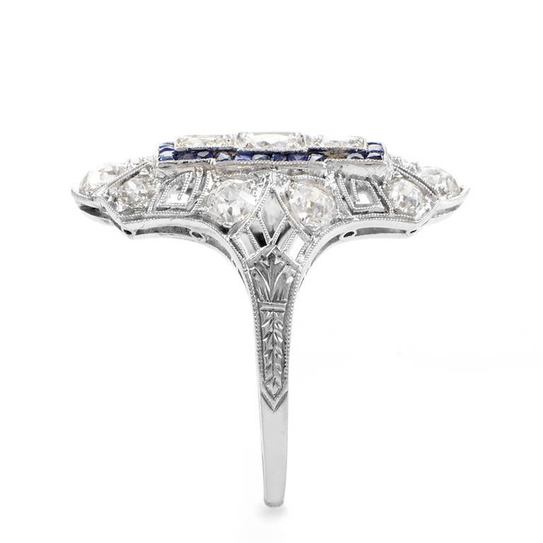 antique sapphire platinum ring at 1stdibs