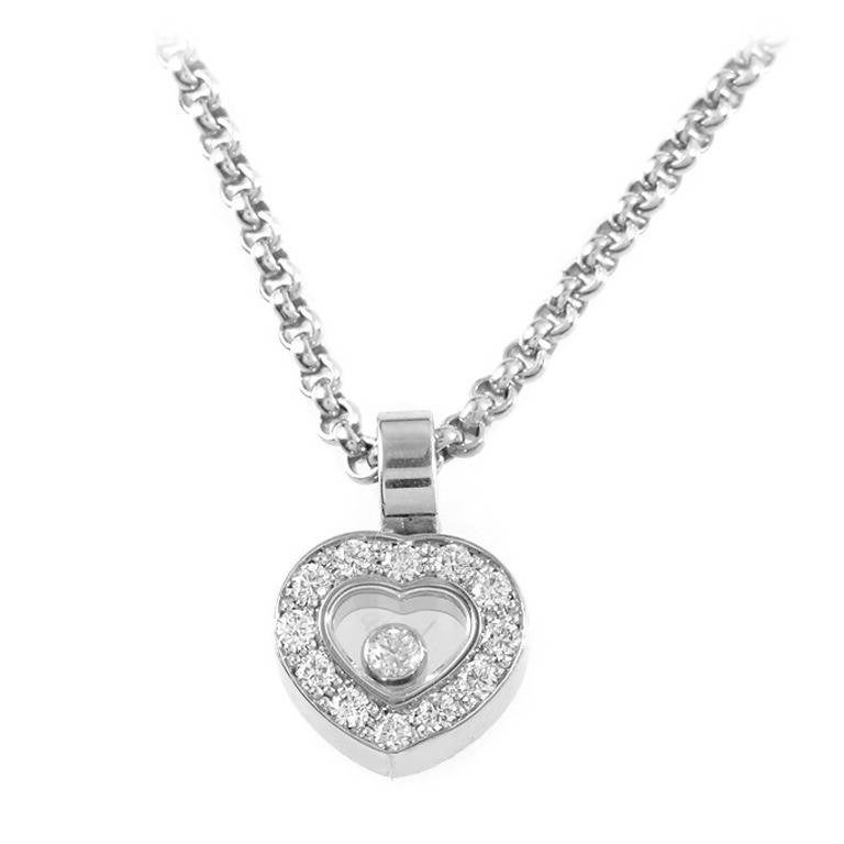 Chopard happy diamonds white gold heart pendant necklace at 1stdibs chopard happy diamonds white gold heart pendant necklace for sale aloadofball