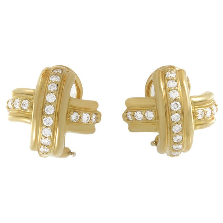 Tiffany Co Yellow Gold Signature X Diamond Earrings For