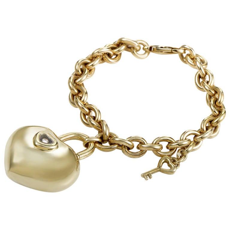 Chopard Happy Diamonds Key To My Heart Yellow Gold Charm Bracelet ...