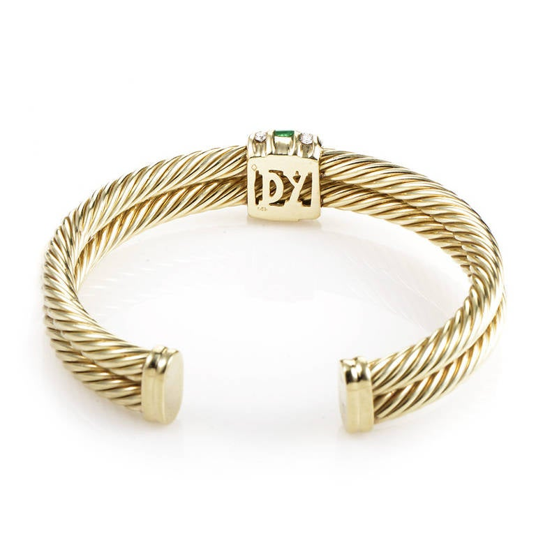 David Yurman Renaissance Emerald Diamond Yellow Gold Cuff