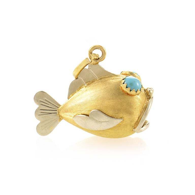 Turquoise two color multi gold fish pendant at 1stdibs for Gold fish pendant