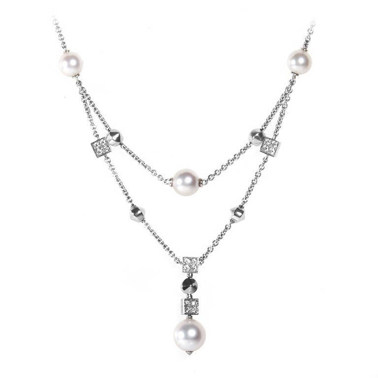 Bulgari Pearl Necklace: Bulgari Lucea Pearl Diamond White Gold Necklace At 1stdibs
