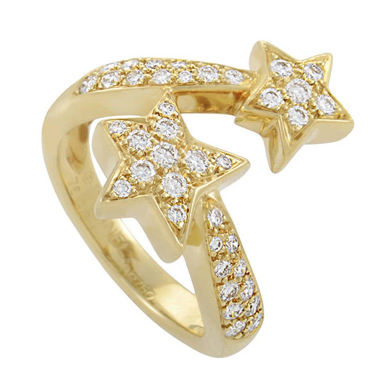 Chanel Comete Diamond Yellow Gold Pave Ring 1