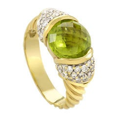 David Yurman Cable Classic Peridot Yellow Gold Diamond and Ring