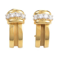 Tiffany & Co. Diamond Yellow Gold Huggie Earrings