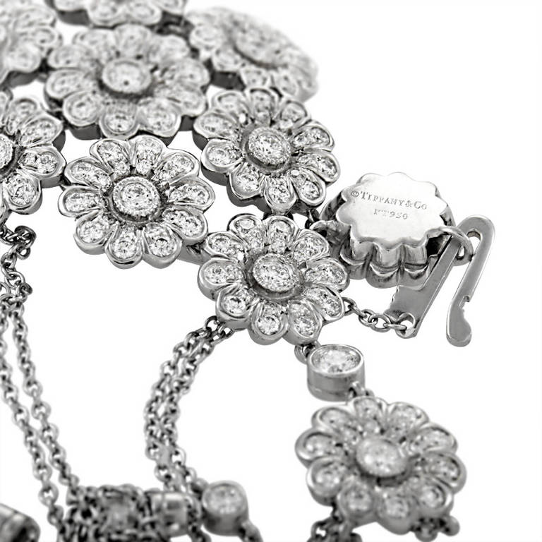 Tiffany & Co. Diamond Platinum Flower Cluster Pendant Necklace In Excellent Condition For Sale In Southhampton, PA
