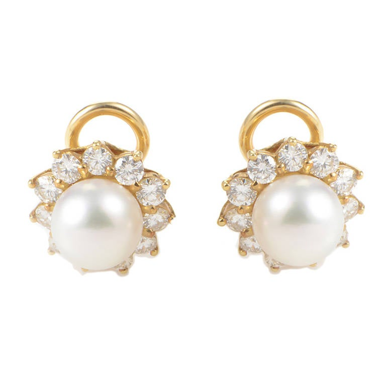 mikimoto pearl gold clip on earrings at 1stdibs