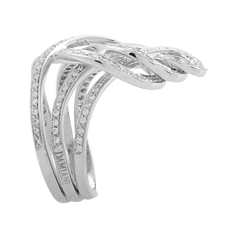 Damiani Woven Diamond Gold Band Ring 3