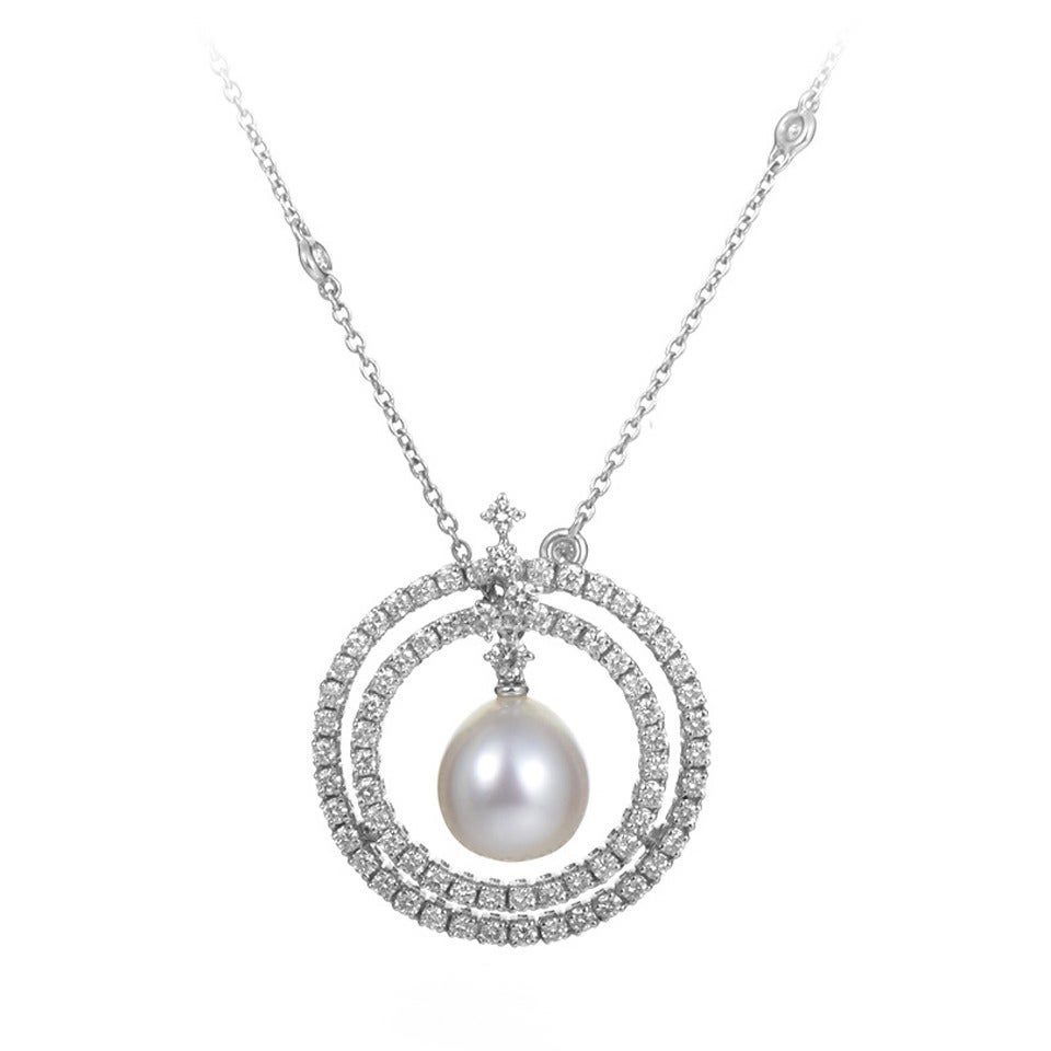 White Pearl Pendant Necklace: Damiani Pearl Diamond White Gold Pendant Necklace At 1stdibs