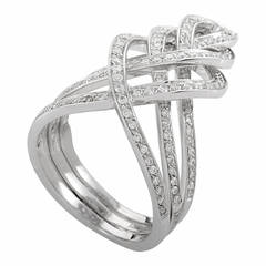 Damiani Woven Diamond White Gold Band Ring