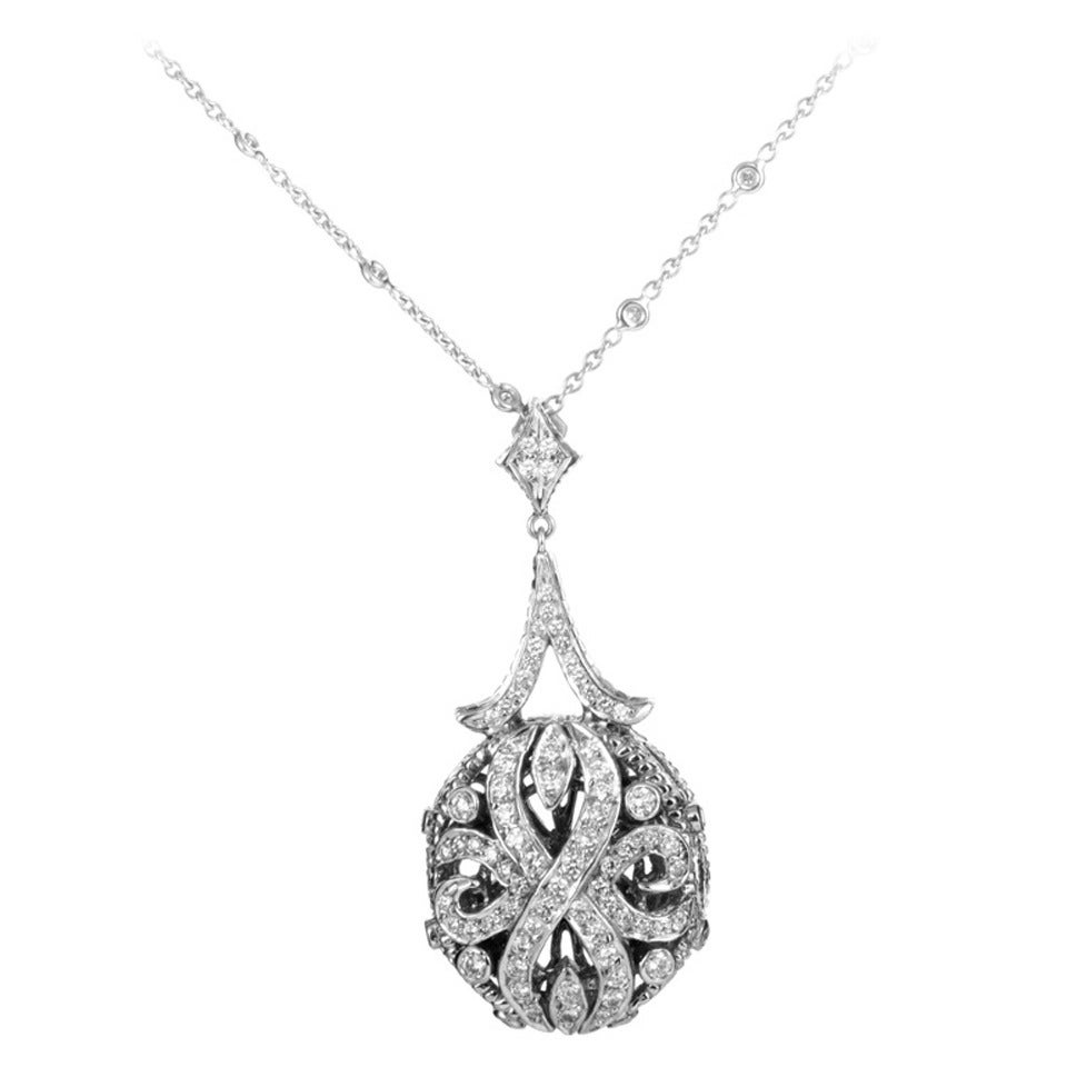 Doris Panos Diamond White Gold Openwork Pendant Necklace at 1stdibs