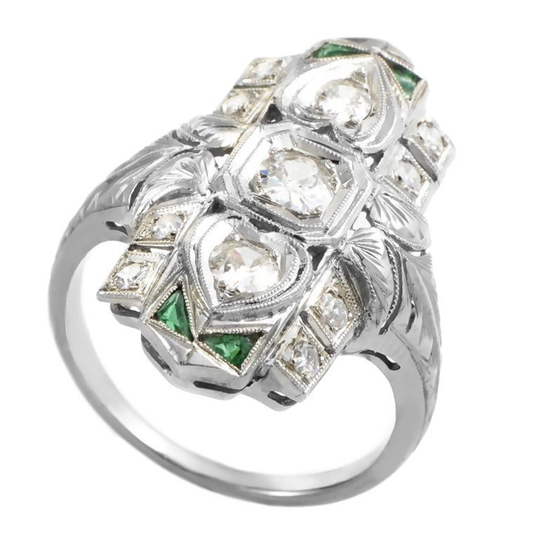 antique deco emerald white gold ring at 1stdibs