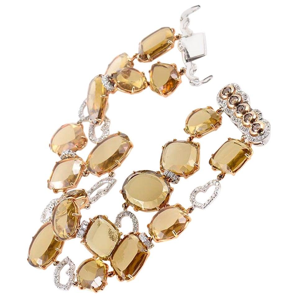 LeaderLine Smoky Topaz Diamond Multi-Color Gold Bracelet