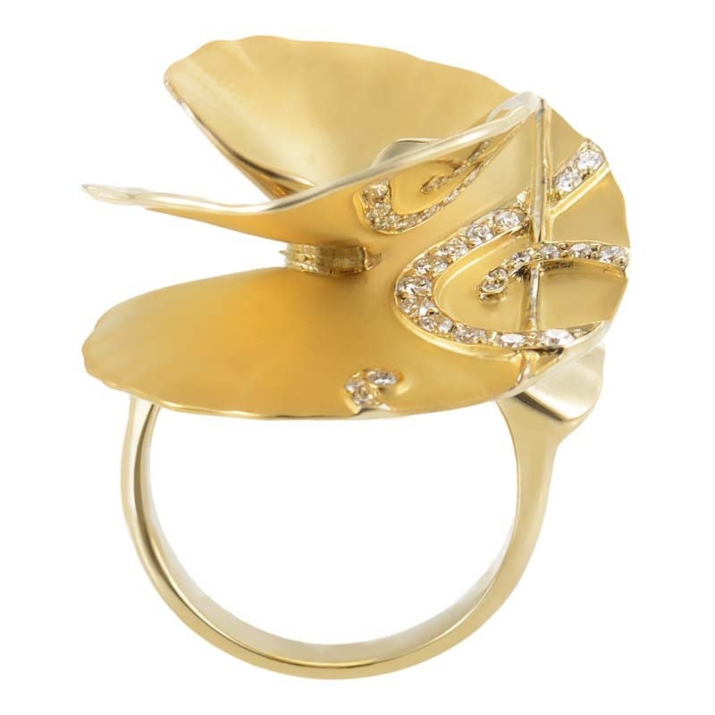 Carrera y Carrera Diamond Gold Flower Cocktail Ring 2