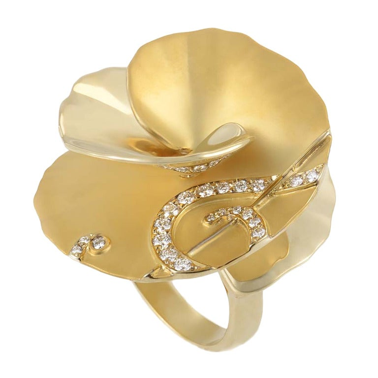 Carrera y Carrera Diamond Gold Flower Cocktail Ring 1