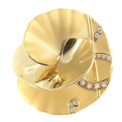 Carrera y Carrera Diamond Gold Flower Brooch